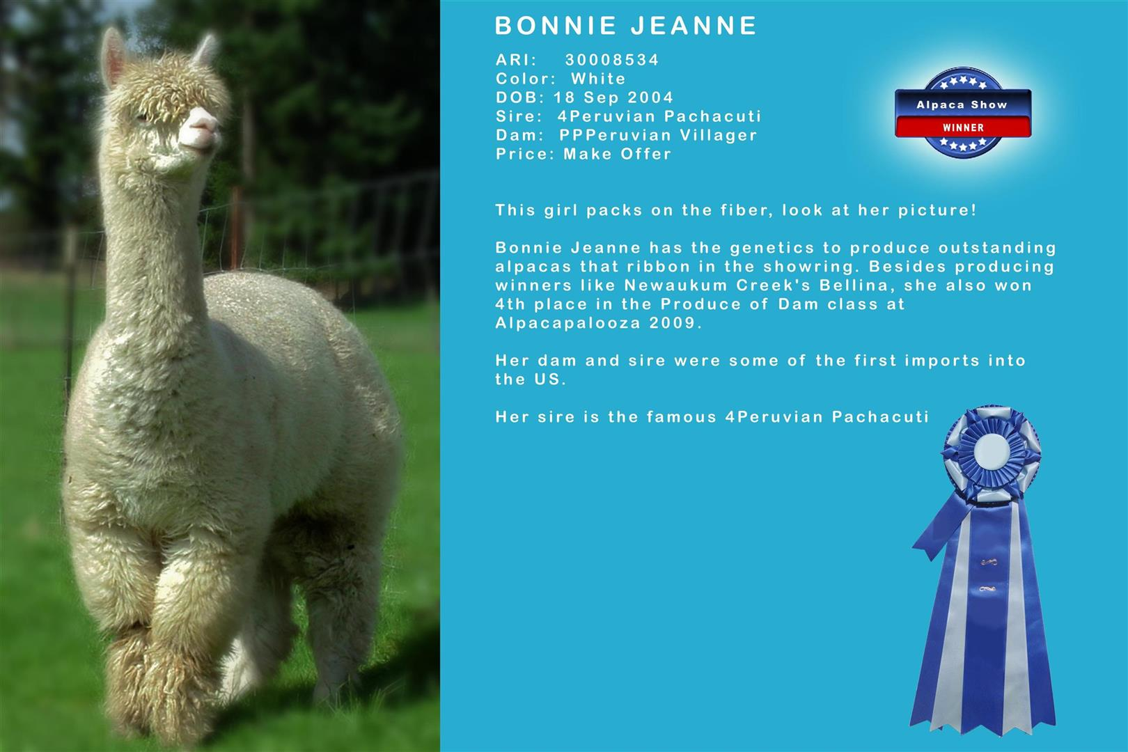 EVA Bonnie Jean female alpaca for sale